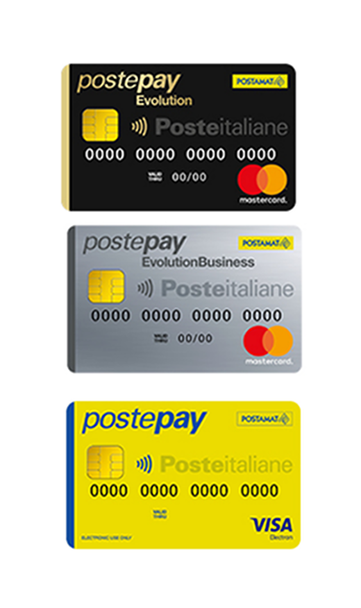 Tre carte Postepay ossia Postepay Evolution, Postepay standard e Postepay Evolution Business