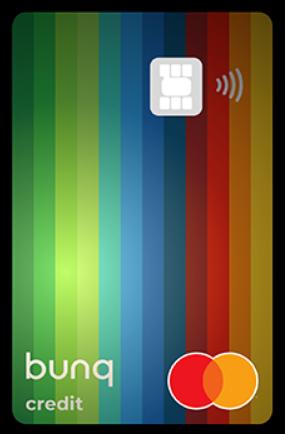 Facsimile di una carta prepagata Bunq Travel Card