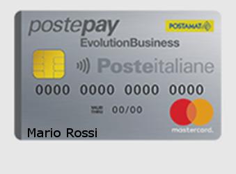 Facsimile della carta prepagata aziendale Postepay Evolution Business