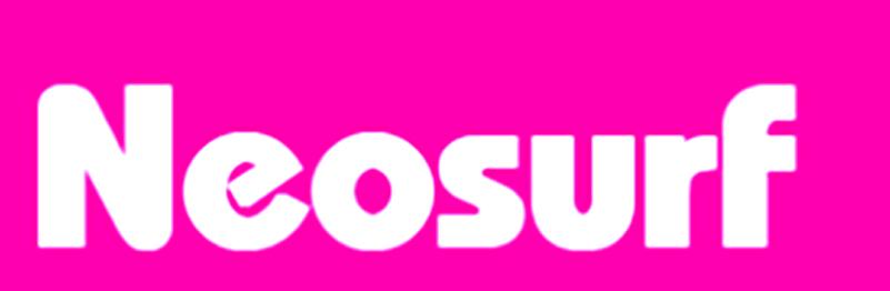 Neosurf: scritta bianca su sfondo fucsia