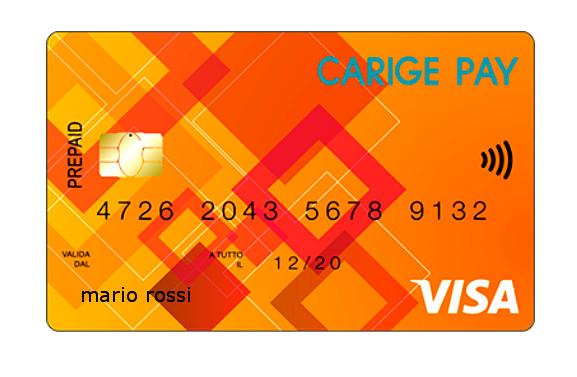 Facsimile di una Carige Pay Prepaid