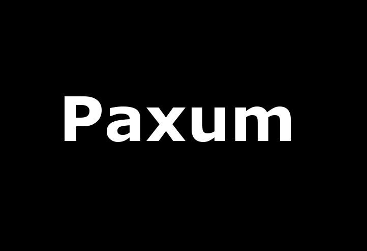paxum, scritta bianca su sfondo nero