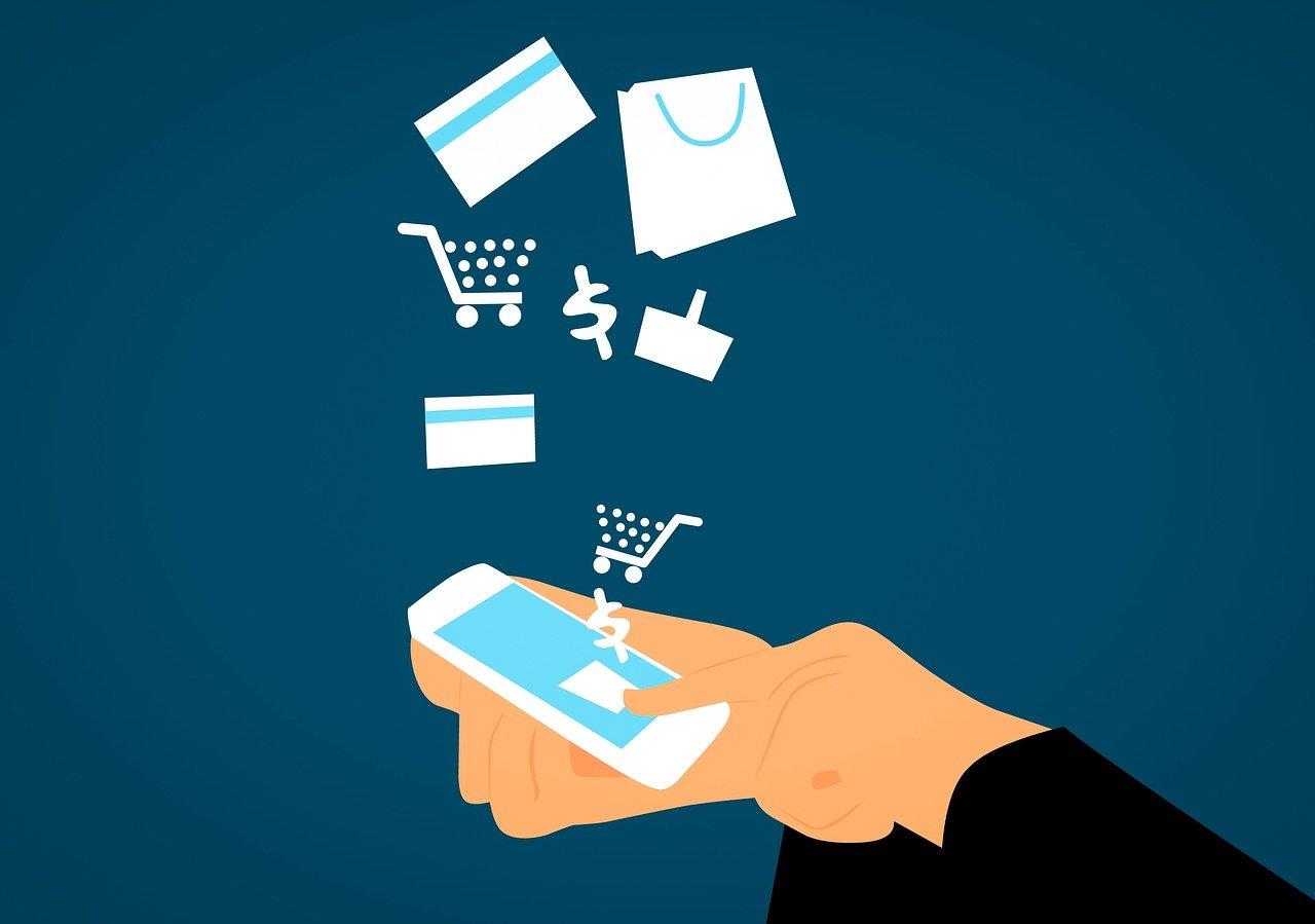 Carte prepagate a canone zero, disegno simbolico di acquisti tramite app